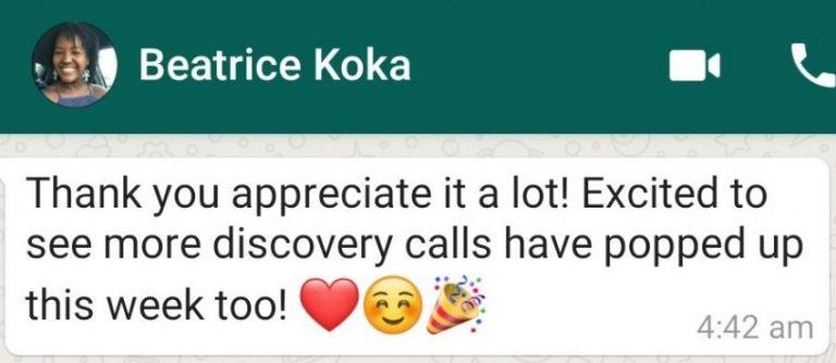 Beatrice Koka - Business Coach Testimonial - 1